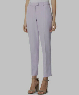 $180 Tahari Asl Womens Purple Modern Professional Slim Fit Trouser Pants Size 12