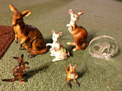 Vintage Porcelain/Glass/Ceramic Kangaroo Figurine Lot of 6