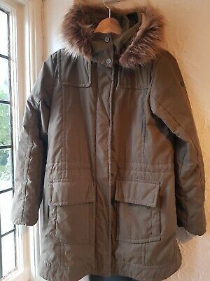 Poivre Blanc Girls Parka Hooded Fur Age 14 Years Khaki Green Zipped Hardly worn