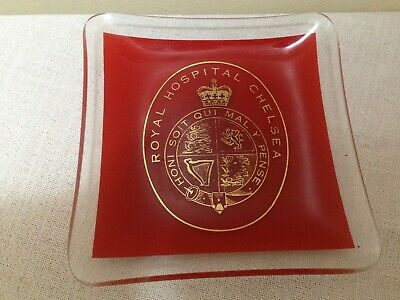 Vintage retro Red & Clear Glass Pin Tray Ashtray Royal Hospital Chelsea (d4)