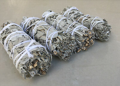 "White Sage Smudge Stick | 4"" to 5"" Wands House Cleansing Negativity  (4 Pack)"