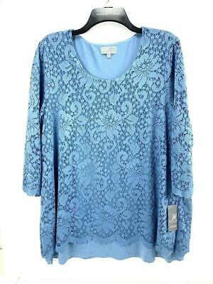 JM Collection Womens Blue Lace Overlay 3/4 Sleeve Lined Blouse Top Size Large