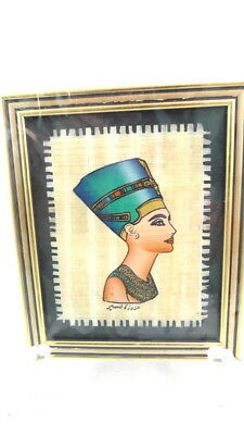 """Framed Papyrus Painting QUEEN NEFERTITI Made In Egypt 4"""" x 4.5"""""""