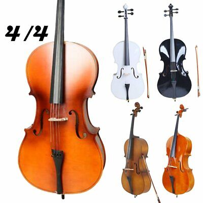 US 4/4 Size Professional Adults Basswood Acoustic Cello +Bag+ Bow+ Rosin+ Bridge