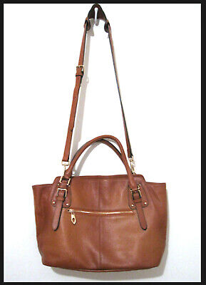 Genuine Leather Tote Bag DAIZU Soft Shoulder Bag Large Capacity Honey Brown NWOT