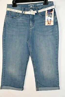 RIDERS BY LEE Midrise Capri Women 8 Denim Leans Pants Belted Stretch
