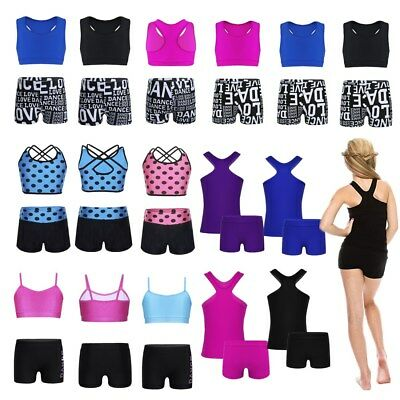2PCS Girls Kids Dance Leotards Gym Sport Active Outfit Tank Top+Bottoms Workout