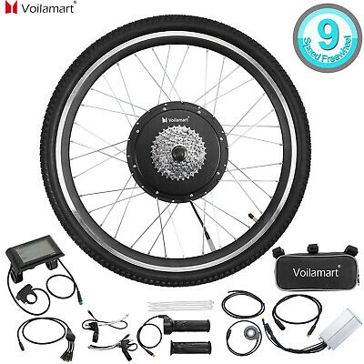 """48V 1000W Electric Bicycle Conversion Kit 26"""" EBike Rear Wheel LCD Meter"""