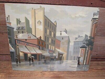 """Vintage Paint By Number 20"""" x 16"""" DOWNTOWN  SCENE - GREAT CLORS!"""