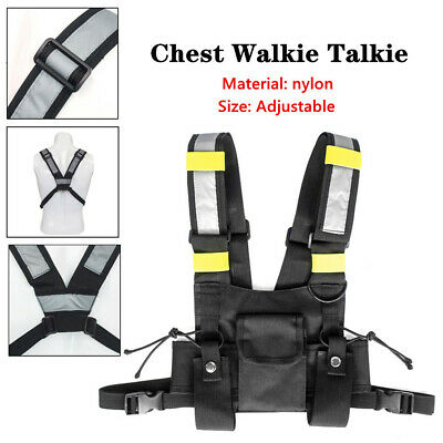 Two-Way Radio Chest Harness Chest Front Pack Pouch Holster Vest Rig Black+Yellow