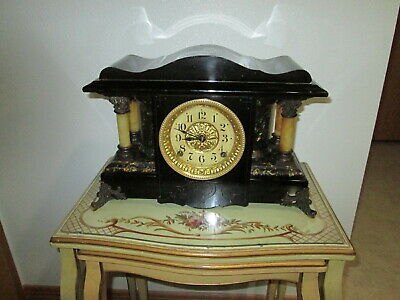 Fully & Properly Restored Seth Thomas Black Adamantine Mantel Clock Shasta Model
