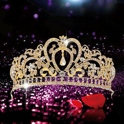 Girls Chic Crystal Rhinestone Wedding Tiara Crown Princess Bridal Headband-