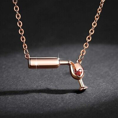 Love Wine Women Pendant Necklace Woman Necklace Zirconia Jewelry Pendant Cubic_