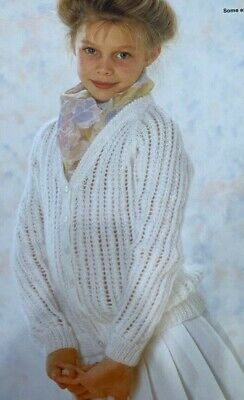 """P172 BABY~GIRLS~DOUBLE BREASTED LACY CARDIE~4 PLY KNITTING PATTERN SIZE 18/""""-20/"""""""