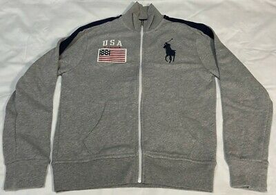 GENUINE Polo by Ralph Lauren Boys Tracksuit Top / Jacket Age 10/12 GREY BIG PONY
