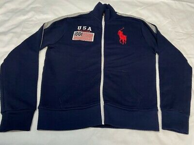 GENUINE Polo by Ralph Lauren Boys Tracksuit Top / Jacket Age 10/12 NAVY BIG PONY