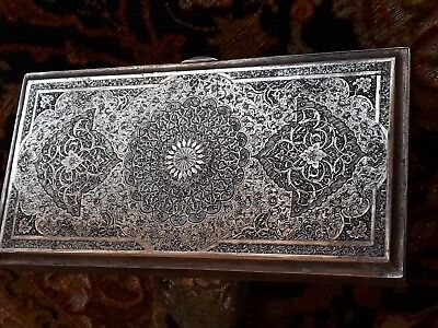 Persian Art Exhibition Fascinating X Large Solid Silver  Middle Eastern Box