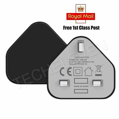 USB Charger 3 Pin UK Mains Plug For iPhone 5 5S 6 7 8 X XS XR XS Max iPad Black