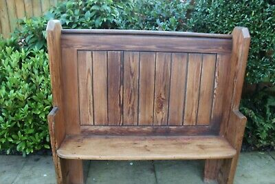 Solid pitch pine high back church pew / settle / bench