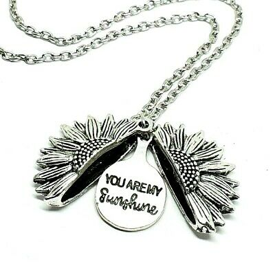 "You Are My Sunshine Open Locket Fashion 18"" Pendant Necklace Silver Sunflower"