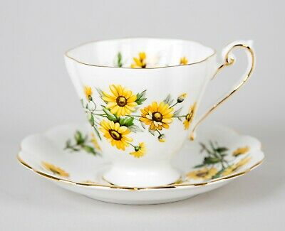 Vintage Royal Standard Black Eyed Susan Yellow Daisy Cup & Saucer Set England