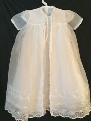 White Christening Gown, 4 pcs, dress, lined coat, slip and cap.