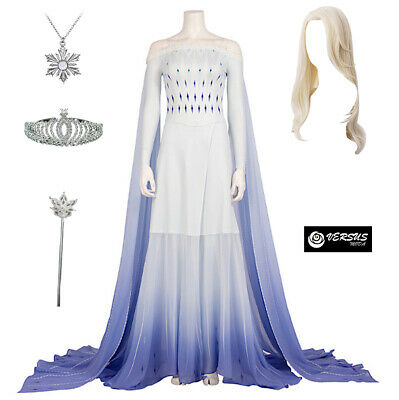 Frozen 2 pz Elsa Vestito Bianco Costume Carnevale Donna Woman Dress FROWOM08