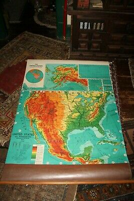 """Vintage United States of America Pull Down Map 40"""" x 57"""""""