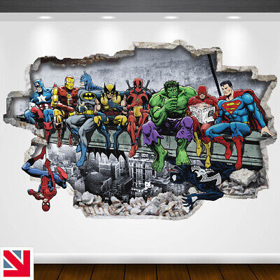 SUPERHEROES ON BEAM Wall Sticker Vinyl Decal Mural Poster Funny Parody