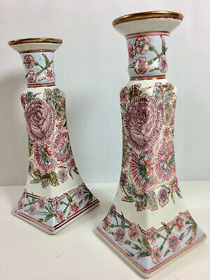 Vintage Pair Chinese Ceramic Candlesticks, Hand Painted Relief Chrysanthemums