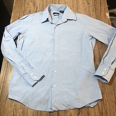Hugo Boss Blue Two Ply Button Up LS Shirt Mens Size 15.5 Sleeves 34/35 #14430