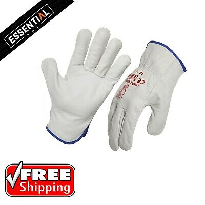 12 Pairs Genuine Full Grain Leather Riggers gloves Cow Hide
