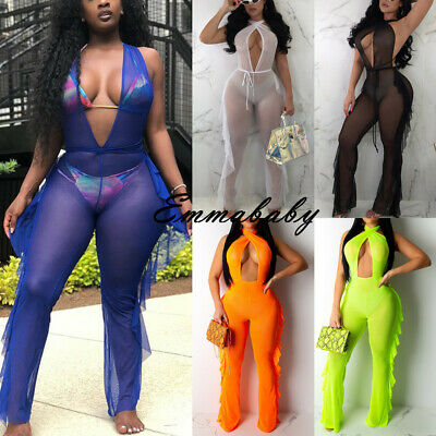 Women Sexy Jumpsuit Romper Bodycon Playsuit Clubwear Beach Long Trousers Party
