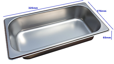 Stainless Steel Steam Pan 1/3 Size 65mm Bain marie tray Hot box Salad bar cafe