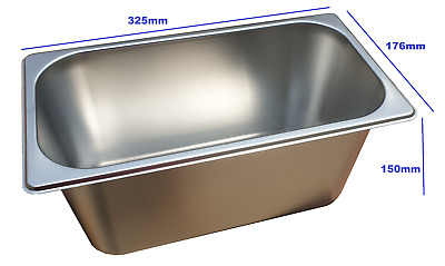 Stainless Steel Steam Pan 1/3 Size 100mm Bain marie tray Hot box Salad bar cafe