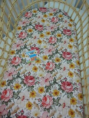 Floral Bassinet Fitted Sheet Aurora Pink Hibiscus Cotton FITS STANDARD BASSINET