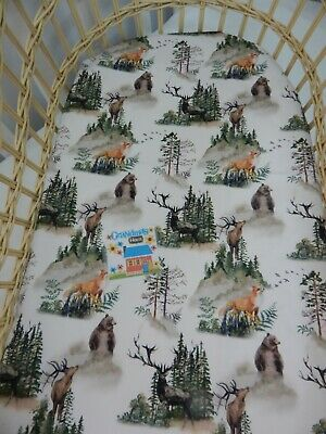 Woodland Bassinet Fitted Sheet Into the Woods 100% Cotton FITS STANDARD BASSINET