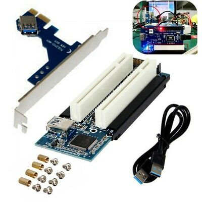 PCI-E Express X1 to Dual PCI Riser Extend Adapter Card With USB 3.0 Cable au