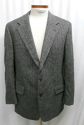 BROOKS BROTHERS Sport Coat Jacket Blazer 43 R Gray Herringbone Wool Tweed (42 44