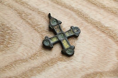 Great Viking Kievan Rus Pendant Cross with Enamels  9-10 AD