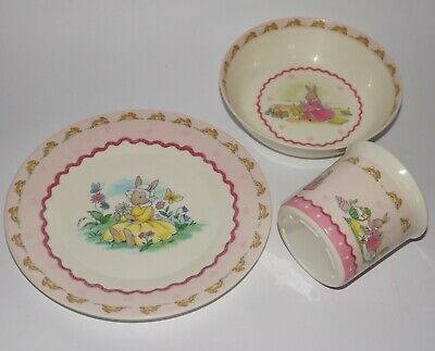 Royal Doulton BUNNYKINS - Rabbits Girl's Child's Pink Set of 3 Bowl Plate & Cup