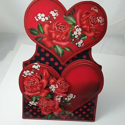 Handmade 3D love hearts and roses valentines Valentine's day card