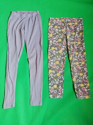 2 Pairs Girls Bottoms / Leggings Lilac Floral 7 - 8 Years great used condition