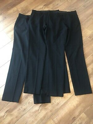 "3 X Mens Boys Black Smart School Trousers W 28"" L 33"" Hardly Worn"