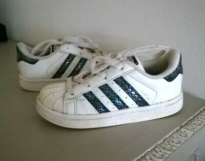 Adidas Superstar White trainers UK Infant size 8 Metallic Snake Toddler