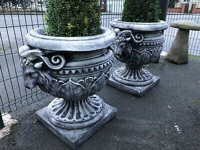 Heavy Stone Rams Head Urn PAIR  Goats decorative Planters
