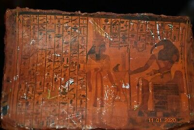 "Sale!! Egyptian Crypt Cartonage Mummy Mask Piece, Glyphs 6"" Prov"
