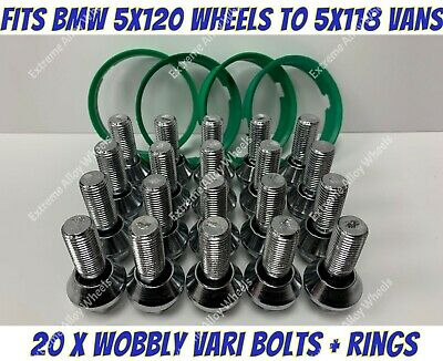 Alloy Wheel Wobbly Bolts x 20 + Rings Fits Bmw Wheels To Renault Trafic