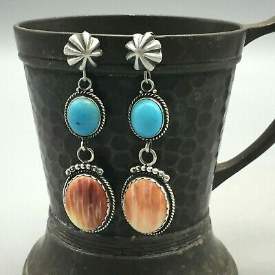 Lovely *NEW* Turquoise and Spiny Oyster Earrings by Elle Curley Jackson