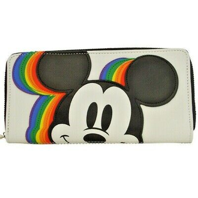 Mickey Mouse Disney Loungefly All around Wallet Zip Rainbows New w//tags WDWA0893